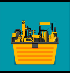 Workspace carpenter tools trendy flat icon vector