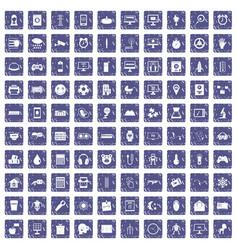 100 app icons set grunge sapphire vector