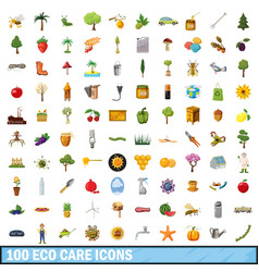 100 eco care icons set cartoon style vector