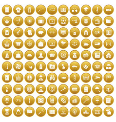 100 police icons set gold vector