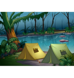A tent camp in the woods vector