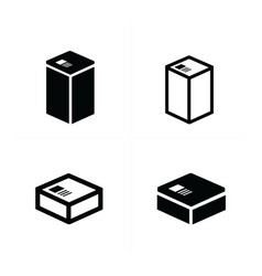 4 style box icons set vector image