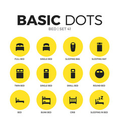 bed flat icons set vector image