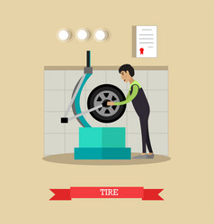 Tire service in flat style vector