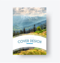flyer template with a white arc for the title and vector image