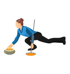Woman play curling isolated on vector