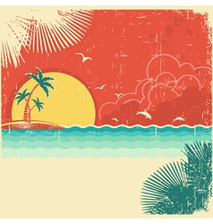 Vintage nature tropical seascape background vector
