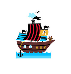 Pirate isolated icon with vessel vector