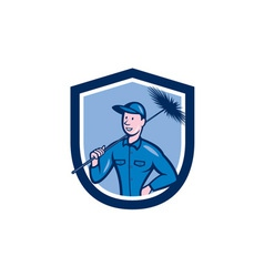 Chimney sweep worker shield cartoon vector