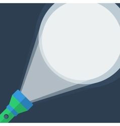Green flashlight in flat style on dark background vector