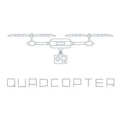 Quadrocopter dron with action camera icon simple vector