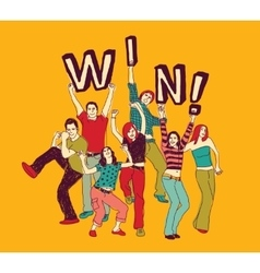 Winner young group happy people color vector