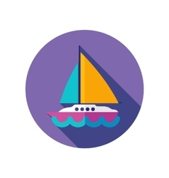 Boat with a sail flat icon long shadow vector