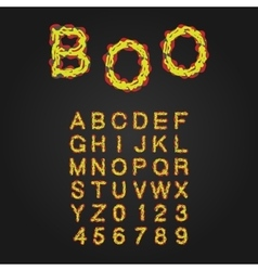 Halloween style typeface uppercase letters and vector