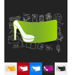 Shoe paper sticker with hand drawn elements vector