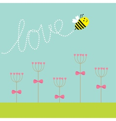Heart stick flower set and flying bee green grass vector