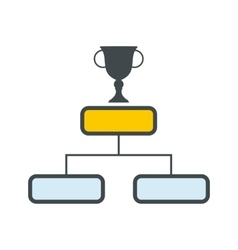 Trophy cup on a prize podium flat icon vector