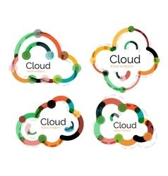 Set of flat linear design cloud logos vector image
