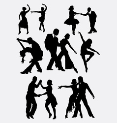 Tango salsa couple dancer silhouette vector