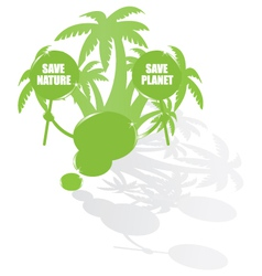 Ecology bubble speech and palms vector