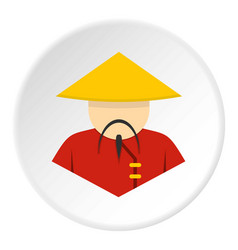 Asian man in conical straw hat icon vector