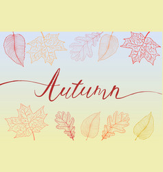 Autumn brush hand written title with colorful vector