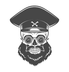 Bearded skull with captain cap and goggles dead vector
