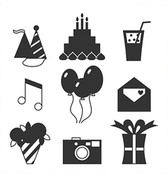 Black silhouette icons happy birthday vector image