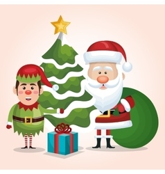 card santa claus elf tree gift bag design isolated vector image