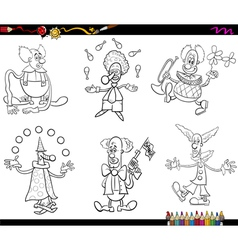 circus clowns set coloring book vector image