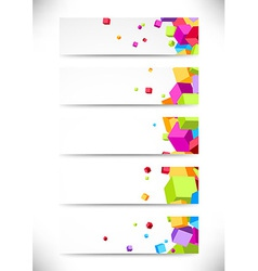 Collection business cards with bright colorful vector image