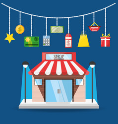 Colorful store with elements shopping concept vector