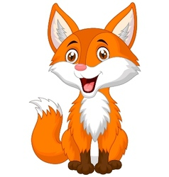 Cute fox cartoon vector