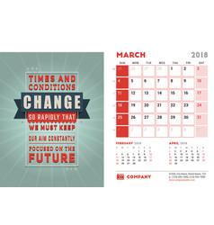Desk calendar template for 2018 year march design vector