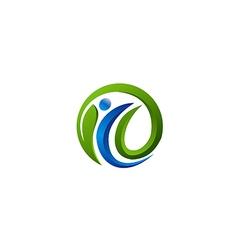 Eco people green leaf vegan logo vector