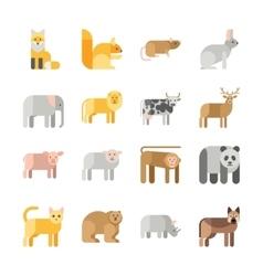 Flat design animals icon set vector image vector image