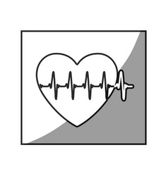 Grayscale square frame shading with heartbeat vector