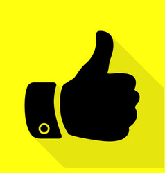 hand sign black icon with flat style vector image vector image