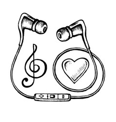 headphones doodle sketch vector image vector image