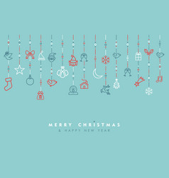 Holiday ornament decoration outline icon card vector