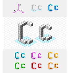 Isometric font from the cubes letter c vector