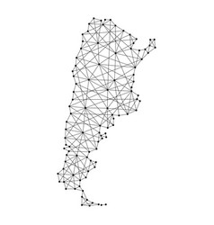 Map of argentina from polygonal black lines vector