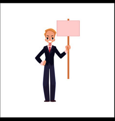 office worker with blank pink placard vector image vector image