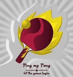 Ping Pong with Flame Background vector image vector image