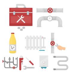 Plumbing set icons in cartoon style big vector