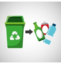 recycling bottles and can icons vector image