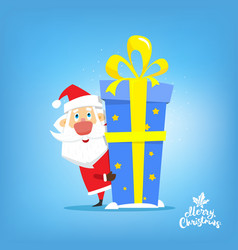 santa claus with big gift of new year in box vector image vector image