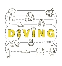 Scuba diving equipment banner vector