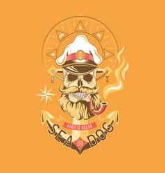 Sea dog color emblem vector