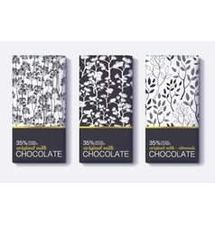 Set Of Chocolate Bar Black White and Gold vector image vector image